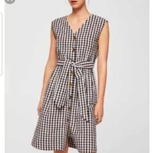 Mango ] gigham tie wash textured dress